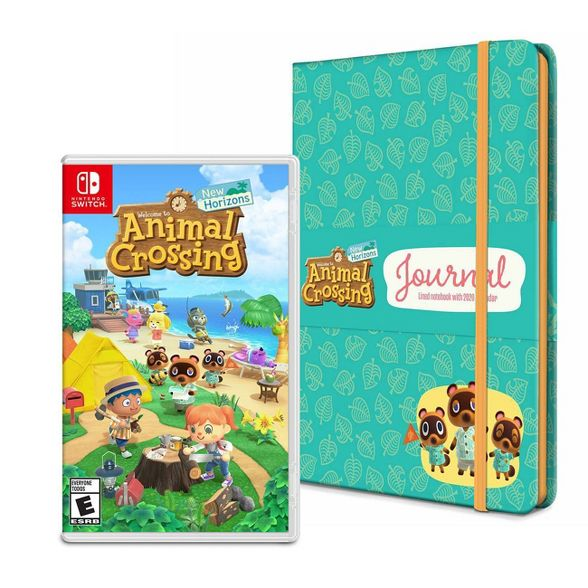 Image of the Animal Crossing: New Horizons game for the Nintendo Switch next to the Pre-Order Bonus New Horizons Journal