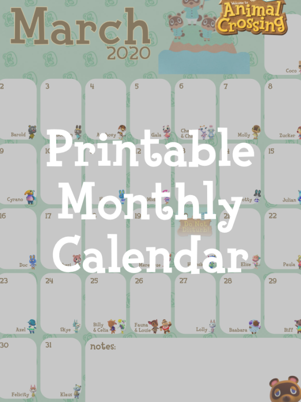 Animal Crossing: New Horizons Printable Calendar: March