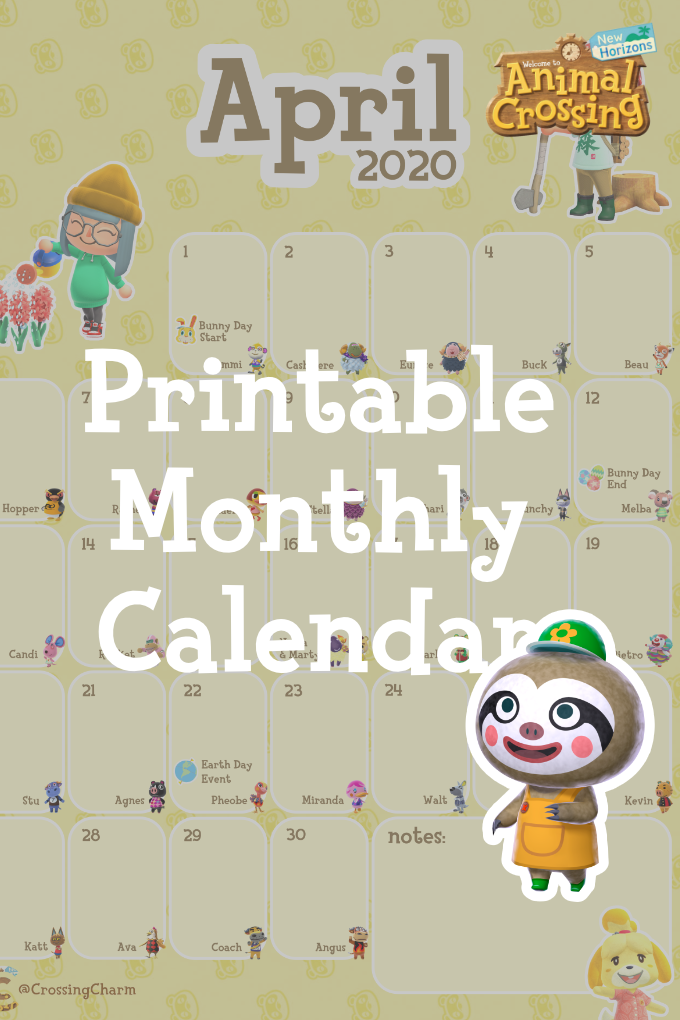 Printable Monthly Calendar For April Animal Crossing New