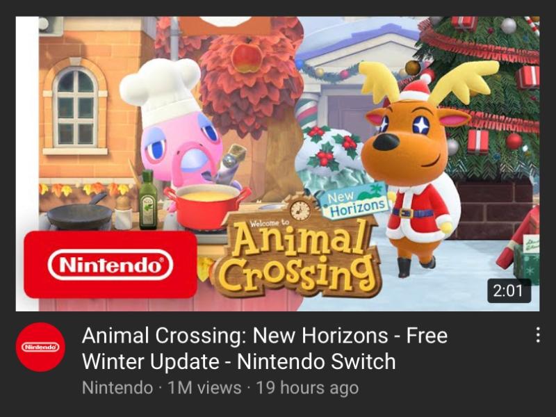 Animal Crossing New Horizons Winter Update November 19 2020